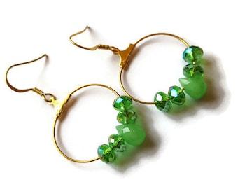 Emerald green teardrop hoop earrings
