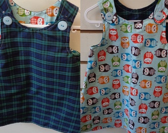 Reversible Dress 12-18 months Tartan/Owl (5446)