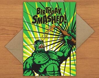 The Hulk Birthday Card - Hulk Smash Birthday Smash - A5 with craft envelope
