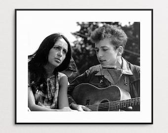 Bob Dylan and Joan Baez Singing at Civil Rights March, 1963 - Bob Dylan Photograph - Folk Singers - Activists - Wall Art - Musicians