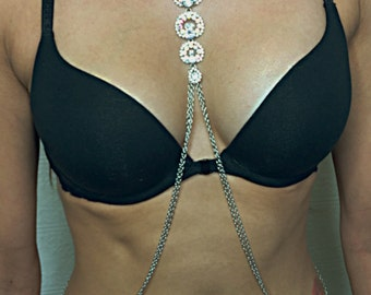 Silver and Crystal body chain