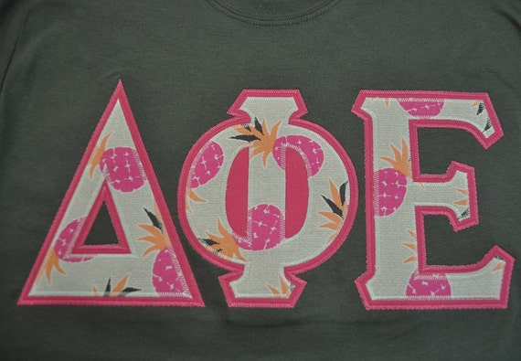Delta Phi Epsilon Stitched Lettered Short Sleeve T Shirt Size