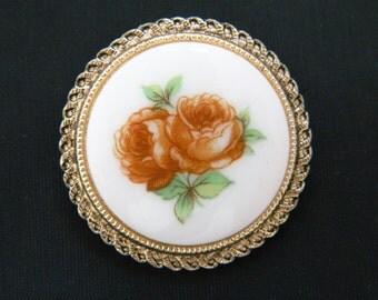 """Vintage Dress Scarf Clip Clasp W. Germany Porcelain Rose Flower Design Gold Tone 1.5"""""""