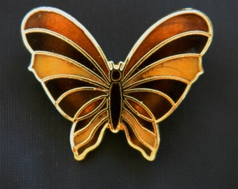 """Vintage Enamel Butterfly Insect Brooch Figural Coat Sweater Pin Gold Tone 1"""""""