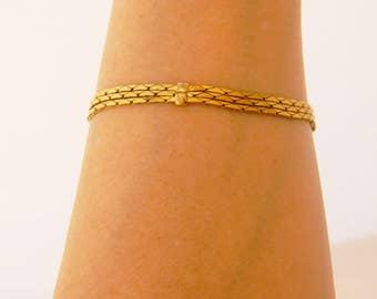 "Vintage Napier Multi Strand Herringbone Chain Bracelet Gold Tone Delicate Signed 7.5"""