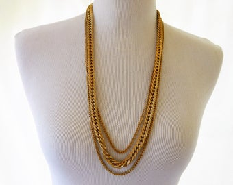 Monet Chunky Chain Link Multi Strand Long Heavy Statement Necklace Gold Tone Signed 29""