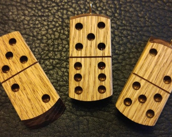 Lucky Charm 7 or 11 On The Same Double Sided Domino ( Oak Wood )