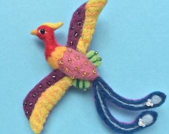Chinese Phoenix Needle-felt Wool Brooch