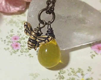 Bronze Bee Necklace, Honey Bee Necklace, Bumblebee Necklace, Honeybee Necklace, Bee Jewellery, Honey, Bee Charm, Ella Rose, Bee Pendant,