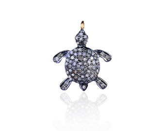 SDC-1024 - Turtle (2 tone)-Pave diamond charm