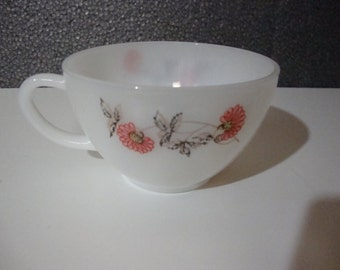 Vintage Fire King Tea Cup With Flowers And Leaves Anchor Hocking Coffee Mug