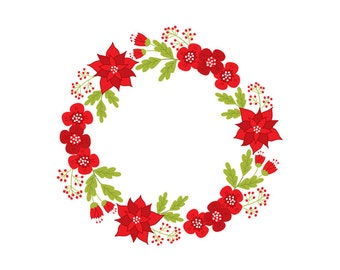 Christmas Wreath Clipart - Digital Vector Wreath, Holly, Berry, Poinsettia, Xmas, Christmas Wreath Clip Art for Personal and Commercial Use