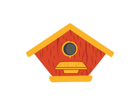 Birdhouse Clipart Digital Vector Bird House Summer by ...