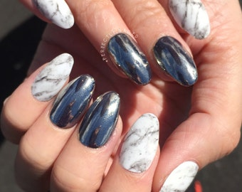 Silver chrome powder/dust and white stone marble • Handpainted False Nails • Fake Nails • Press on Nails •