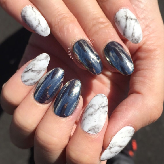 How To Use Chrome Nail Powder Without Gel: Silver Chrome Powder/dust And White Stone Marble Gel Nails