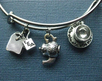 Tea Bangle - Tea Charm Bracelet - Tea Jewelry - Charm Bracelet - Bangle - Tea - Tea Lover-- B129
