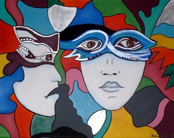 """Masked  14"""" x 11"""" Acrylic on Stretched Canvas"""