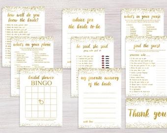 Bridal Shower games Package, Funny Bridal Shower games Set, Bachelorette games pack, Shower Activity, Gold Glitter confetti games cards kit