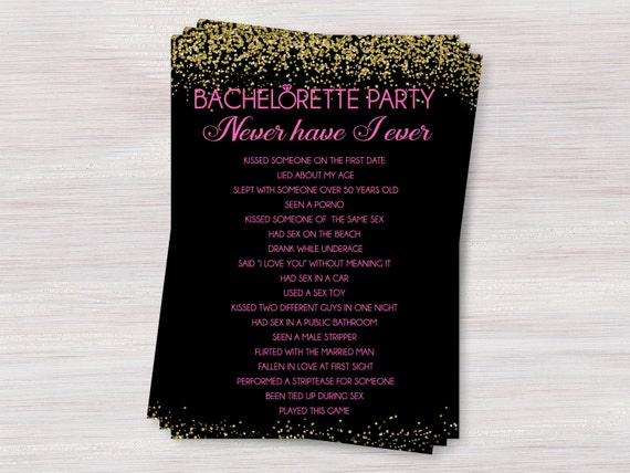 Never Have I Ever Bachelorette Party Drinking Game Hens