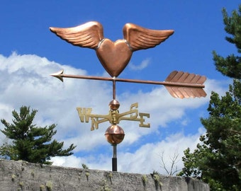 Copper Heart with Wings Weathervane BH-WS-501