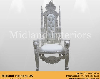 NEW Lion King Throne Chair - White & white leather