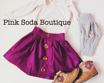 Girls Mulberry purple wooden button skirt