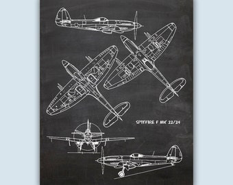 Airplane Art, Aviation Wall Art, Airplane Decor, Pilot Gift, Airplane Poster, Chalkboard Print, Aviation Gifts, Spitfire F MK 22/24