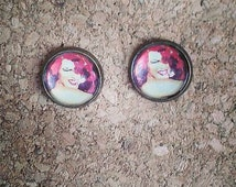 Rita Hayworth 'Gilda' bronze stud earrings