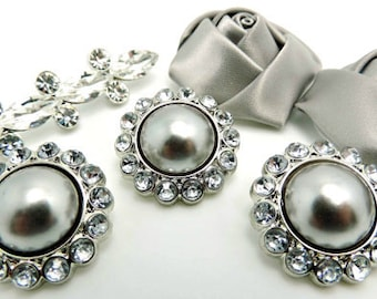 SILVER Pearl Rhinestone Acrylic Buttons W/ Crystal Clear Surrounding Rhinestones Button Bouquet Garment Coat Buttons 26mm 3185 67P 2R