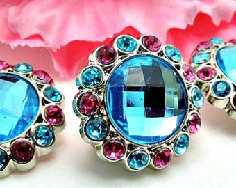 Turquoise  Rhinestone Button W/ Hot Pink & Turquoise Surrounding Acrylic Rhinestones DIY Garment Wedding Coat Buttons  26mm 3185 25 24 25R
