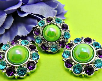 AB APPLE Green Pearl Button W/ Purple & Turquoise Surrounding Rhinestones Button Bouquet Garment Coat Buttons Diy Button 25mm 2997 57P 5 25R