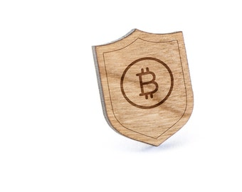 Bitcoin Lapel Pin, Wooden Pin, Wooden Lapel, Gift For Him or Her, Wedding Gifts, Groomsman Gifts, and Personalized