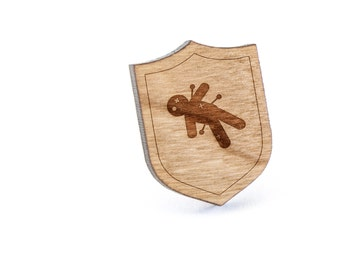Voodoo Lapel Pin, Wooden Pin, Wooden Lapel, Gift For Him or Her, Wedding Gifts, Groomsman Gifts, and Personalized