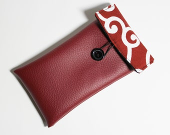 cover iphone 6 faux leather and bordeaux Japanese fabric