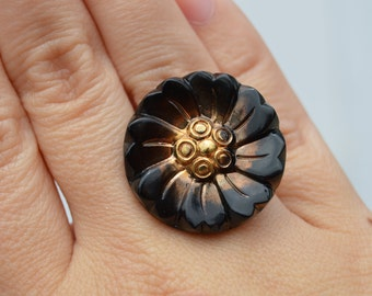 Vintage Repurposed Dark Brown and Gold Flower Adjustable Button Ring