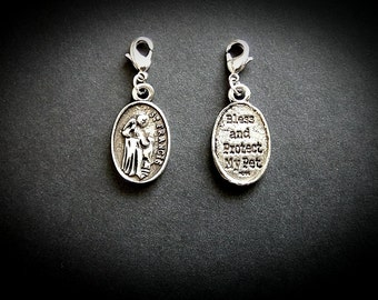 St Francis Of Assisi Clip On Collar Charm For Dogs And Cats. Patron Saint Of Animals and Ecology. Protection For Your Pet.