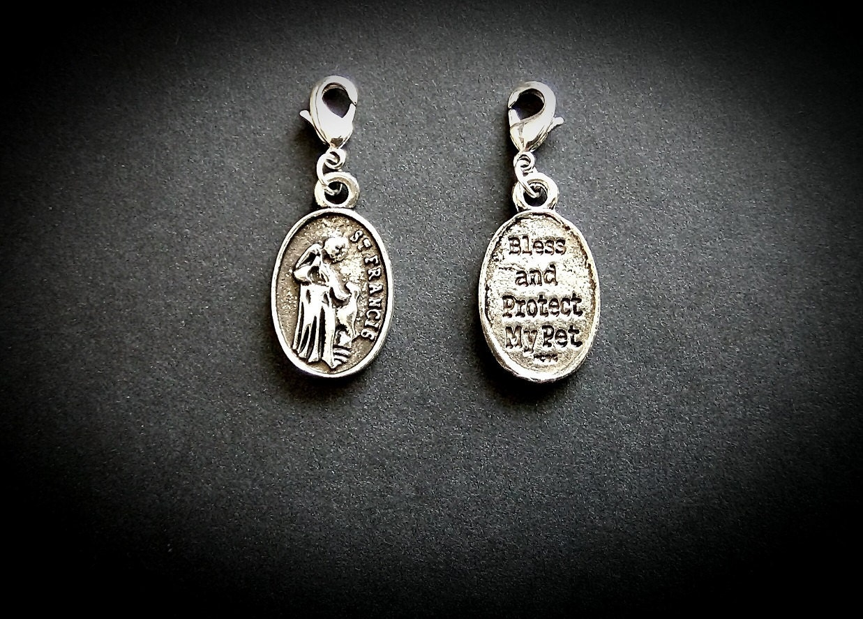 st francis of assisi clip on collar charm for dogs and cats