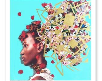 Collage Print, Mixed Media Collage Art, Giclee Fine Art Print, Woman Print