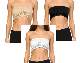 Fashionazzle Women's Removable Padding Stretchy Seamless Bandeau Bra Top Set of 3 pcs