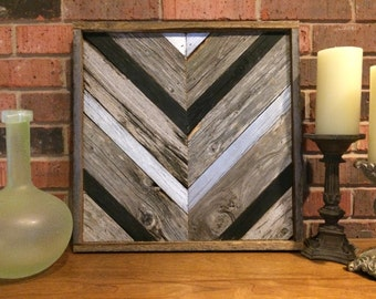 Rustic Chevron Black And Silver Reclaimed Wood Wall Art
