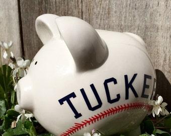 Monogrammed boys piggy bank, monogrammed baseball piggy bank, white piggy bank for boy