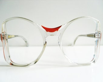 15 // Authentic 1970s Rare Large Elegant and Extravagant Butterfly MCS Crist German made Translucent and Orange Eyeglasses Glasses Frame