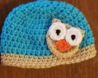 Newborn crochet baby owl beanie
