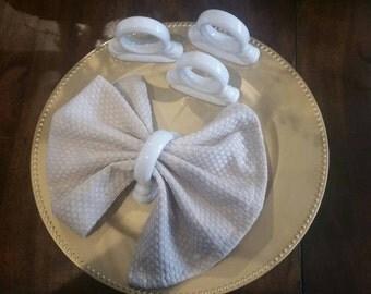 White Porcelain Round Napkin Rings Set of 4
