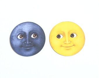 Moon Emoji Glossy Stickers