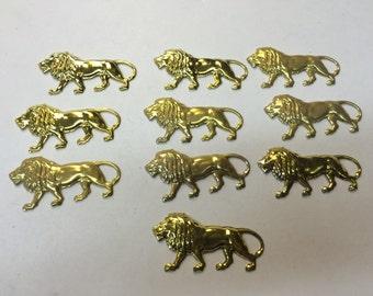Brass Stamping - Brass Lion - Set of 10