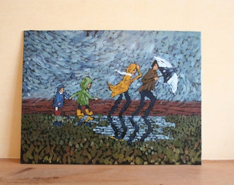 Original oil painting, family, walking, parents and kids, children, rain, umbrella, storm clouds, modern, contemporary, collectible