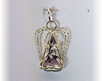 Sterling Silver Wire Wrapped Angel Pendant with Purple Tonquin Pattern China - #11684