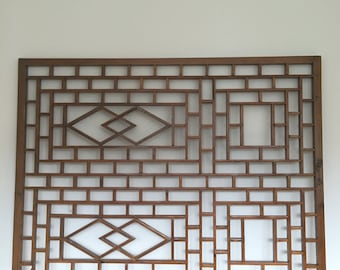 Chinese antique, fretwork window screens. Architectural salvage.