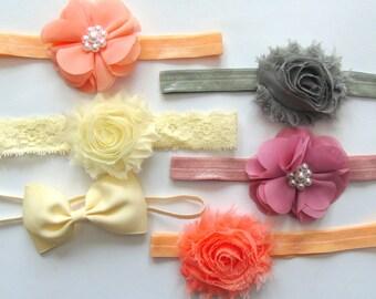 Shabby Chic Baby Headband Set of 6 Headbands, Baby Bows, Newborn Headband, Baby Hair Bows, Vintage baby headband set, Baby Photos Headbands
